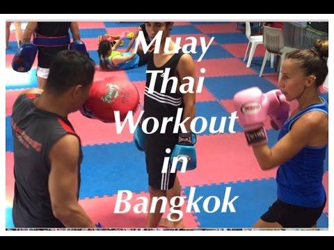 Working out at Jaroenthong Muay Thai Gym, Bangkok