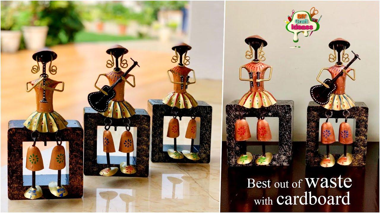 Best out of waste bottle   Musicians dolls diy idea with cardboard   Arush diy craft ideas