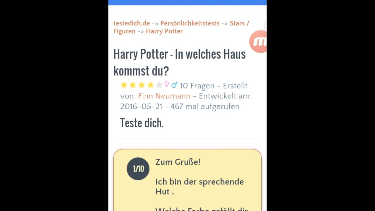 Teste dich :Harry Pott...
