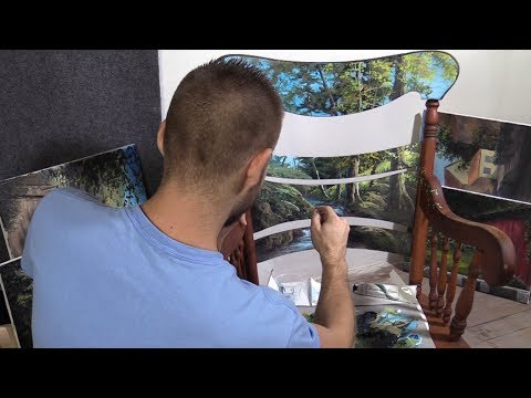 DIY furniture painting - old rocking chair art landscape