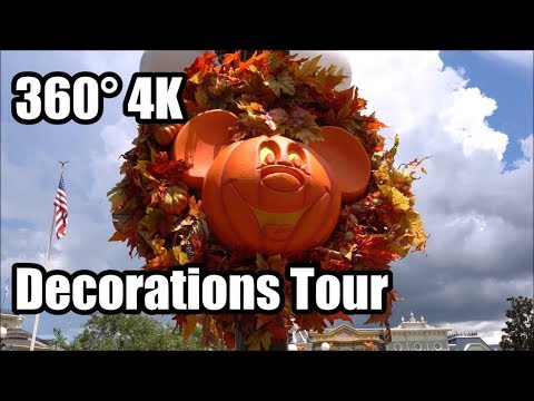 360° 4K Magic Kingdom Halloween Party Decorations Tour | Walt Disney World