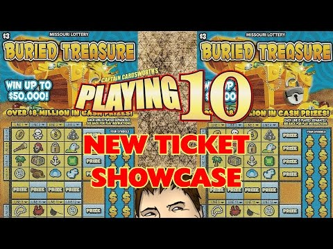 "3x $3 ""BURIED TREASURE"" - Missouri Lottery! - NEW TICKET SHOWCASE"