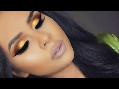 Vibrant Yellow Gold Eye Look + Nude Lips
