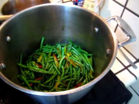 Cooking - Green Bean Capsicum Cabbage Tofu