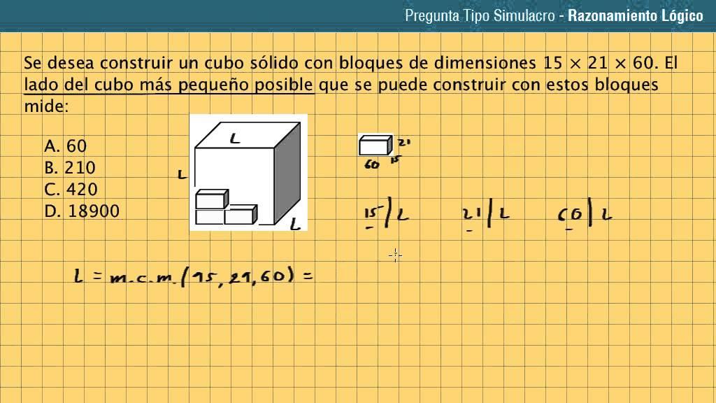 Pregunta + Solución. Preu UdeA y Unicartagena. Aritmética: Se desea construir un cubo sólido con...