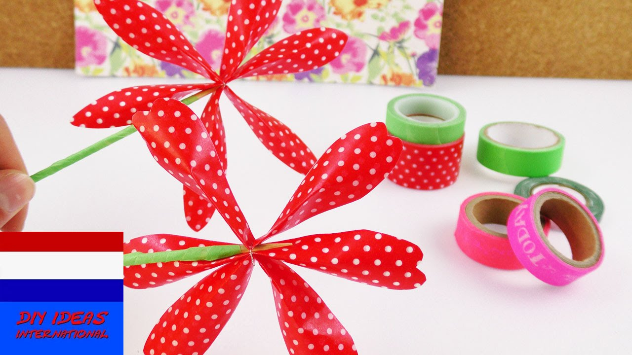 Zelf bloem maken van washi tape decoratie voor je kamer of cadeau idee flower summer youtube - Kamer decoratie ideeen ...