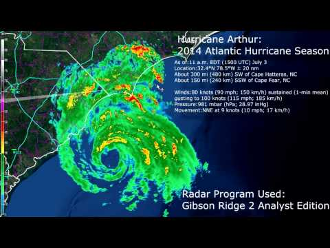 GR2Analyst Hurricane Arthur Radar Loop 7-3-2014 11am-12pm central time