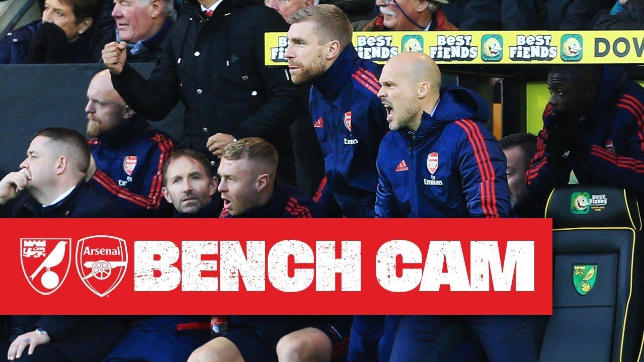 Bench Cam Norwich City 2 2 Arsenal Premier League