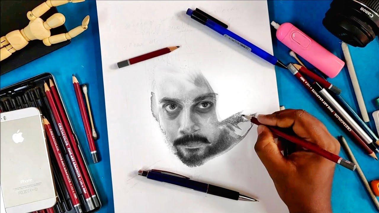 Pencil Drawing Of Suriya   Soorarai Pottru  