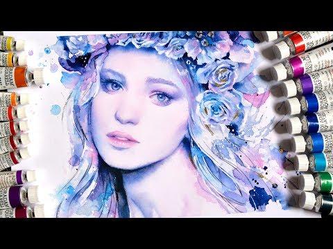 【WATERCOLOR PORTRAIT】Ice Princess - Cмотреть видео онлайн с youtube, скачать бесплатно с ютуба
