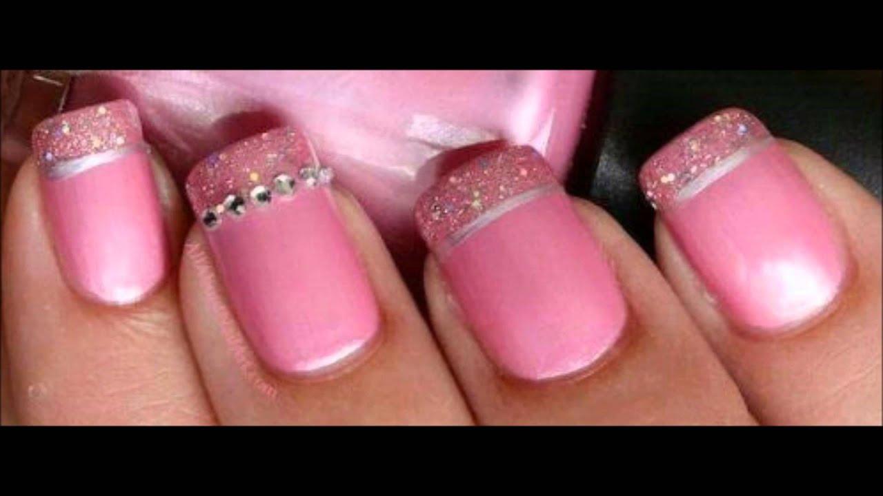 Diseños de uñas con punta francesa - YouTube