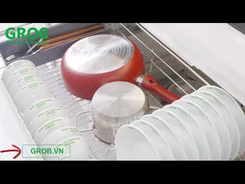 (Grob.vn) Ngăn kéo bát dĩa Grob inox 304 nan tròn