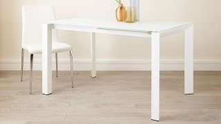 White Frosted Glass Extending Dining Table with Painted White Legs