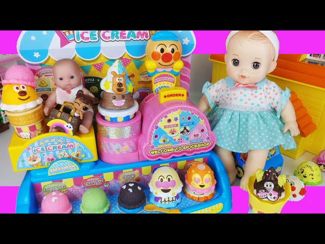Baby doll and Anpanman Ice cream shop toys car play house story - ToyMong TV 토이몽