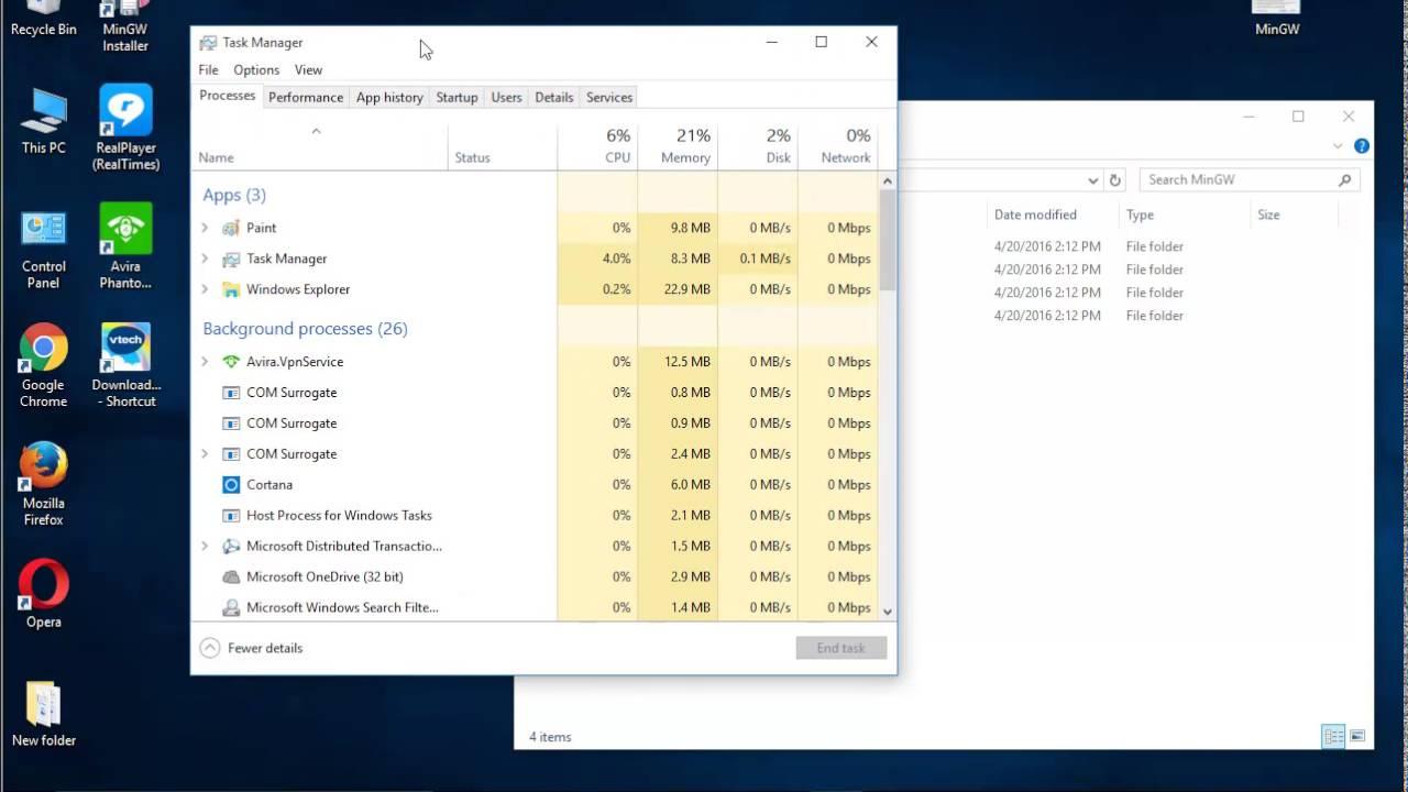 Uninstall MinGW Installation Manager in Windows 10