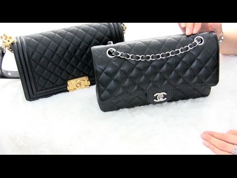 7e96574fe9c7 Chanel Old Medium Boy Bag VS Medium Classic Flap - YouTube