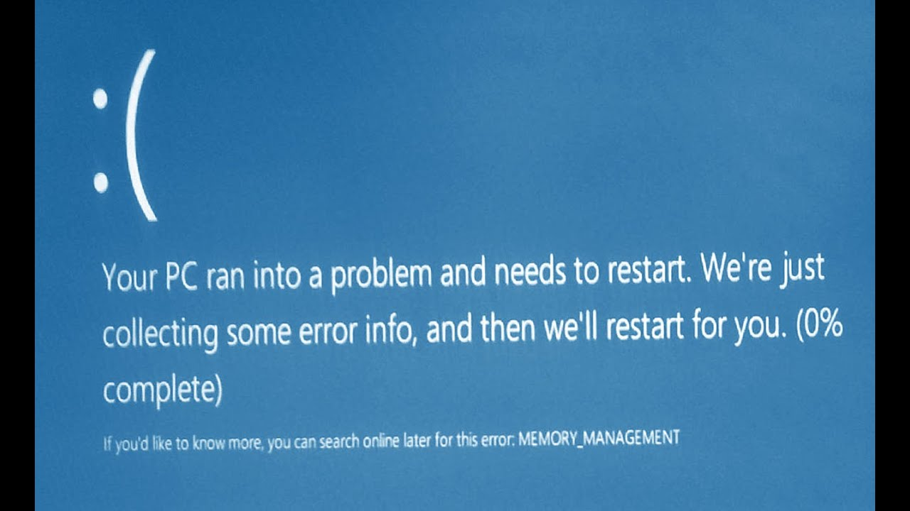 bsod windows 10 memory management