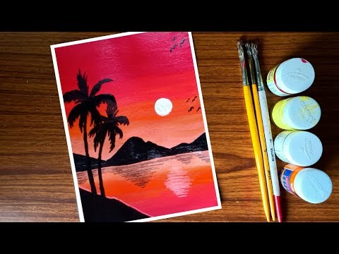 easy poster colour landscape painting for beginners step by step