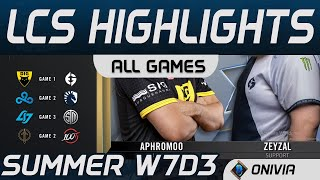 LCS Highlights Week7 Day3 LCS Summer 2020 All Games By Onivia