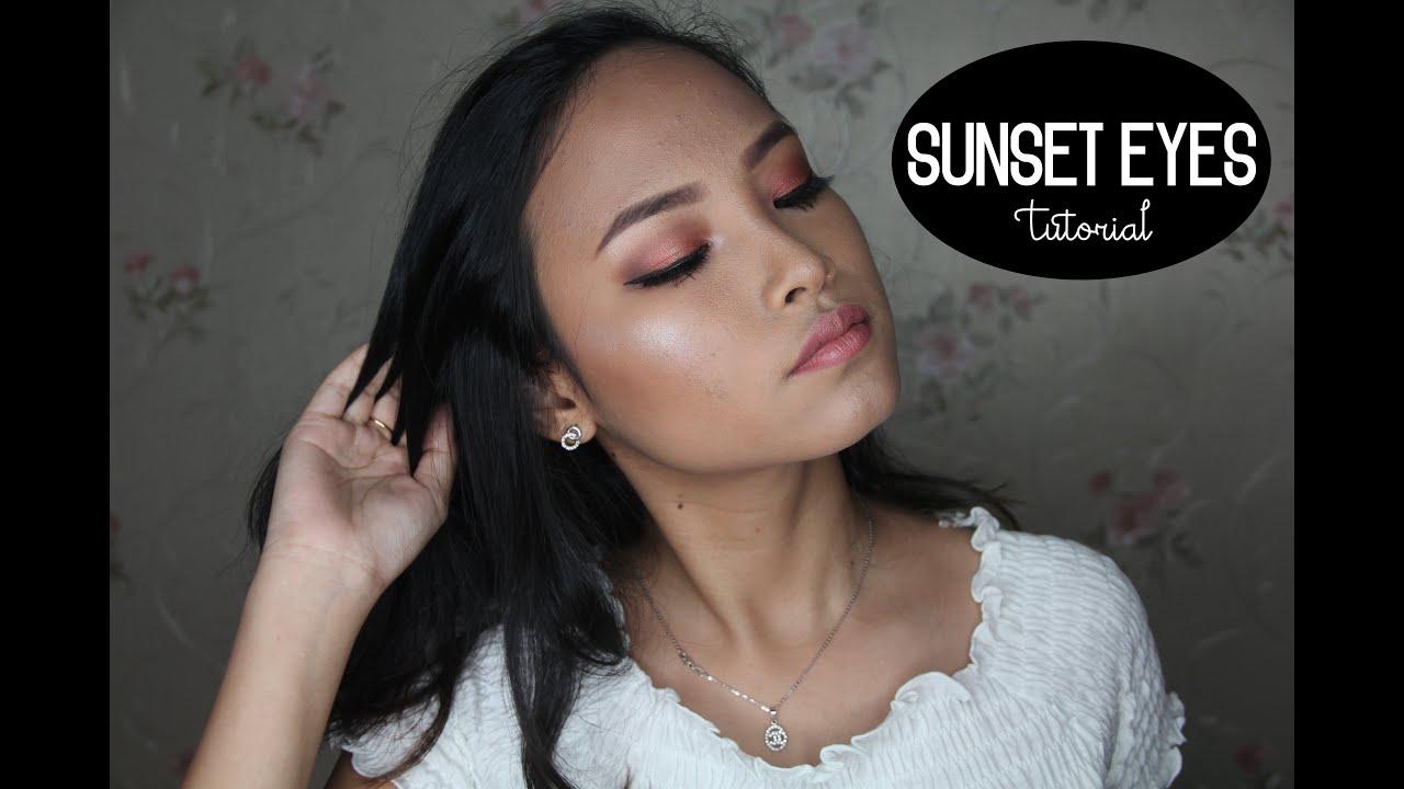 Sunset Copper Eyes Using Inez Eyeshadow Amyra Irzanti Fine Line Eyeliner Black