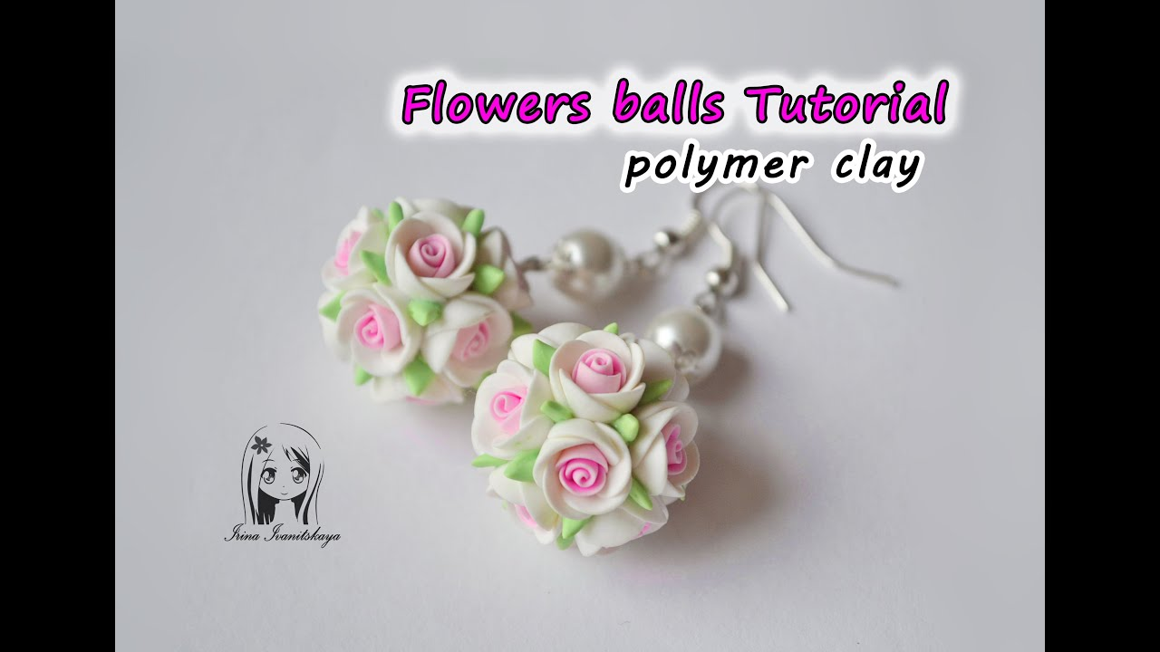 Earrings Flowers Balls Polymer Clay Tutorial Pendientes