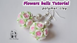 Earrings Flowers balls ✿ Polymer clay Tutorial ✿ Pendientes bolas de flores arcilla polímero