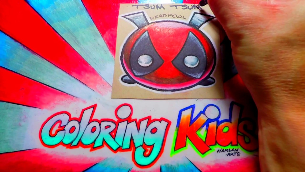Coloring pages tsum tsum - How To Color Marvel Comics Deadpool Disney Tsum Tsum Coloring Pages For Kids