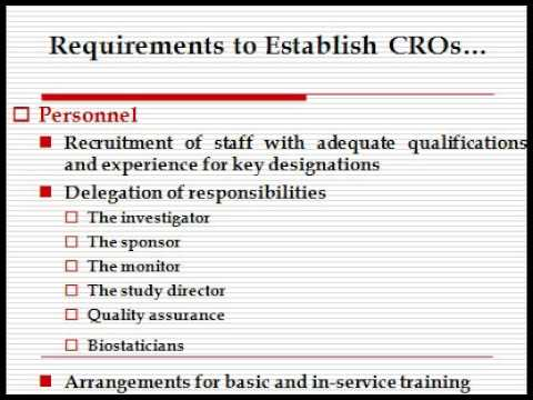 Contract Research Organization CROESTABLISHMENT AND FUNCTIONS