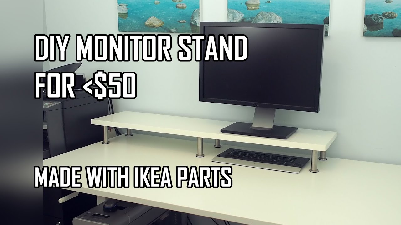 DIY Monitor Stand   IKEA Computer Desk Hack (with Ekby Jarpen Shelf And  Capita Legs)   YouTube Part 77
