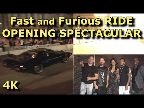 Fast And Furious Supercharged Ride OPENING CELEBRATION Spectacular - With Vin Diesel - 4K