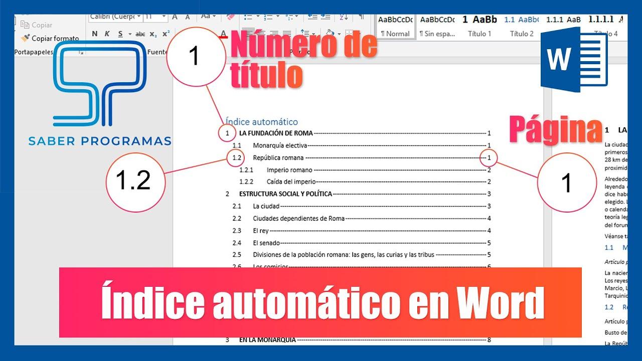 Word Crear índice Automático En Word Con Numeración De Títulos Y Páginas Tutorial En Español Hd