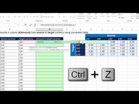 Excel Magic Trick 1235: 2-Way Lookup For Currency Conversion: Don't Use IF, Use INDEX Or VLOOKUP
