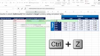 Excel Magic Trick 1235: 2-Way Lookup For Currency Conversion: Don't Use IF, Use INDEX or VLOOKUP screenshot 3