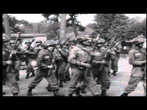 US 101st Airborne Division guards arrive at Little Rock High School during Operat...HD Stock Footage