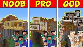 Minecraft Family NOOB vs Pro vs GOD: MODERN MOUNTAIN HOUSE BATTLE in Minecraft!
