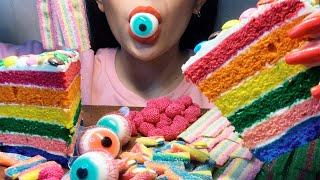ASMR RAINBOW CAKE 초콜릿, 젤리, 립스틱…