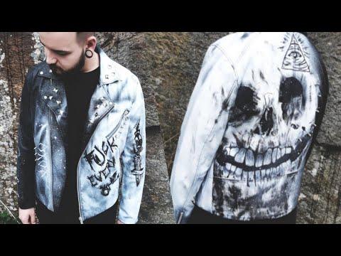 114ec1123 Costumized Skull Leather Jacket DIY + Best Friends' Reaction