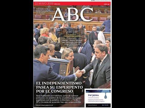#Noticias Miércoles 22 Mayo 2019 Titulares Portadas Diarios Periódicos España Spain #News