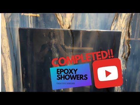 Epoxy shower walls. Final installation.