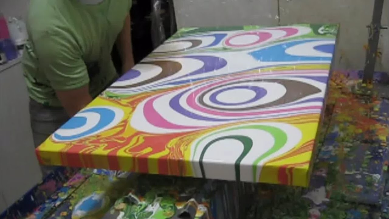 Fluid painting the fun part time lapse cute ruthms song for How paint on canvas