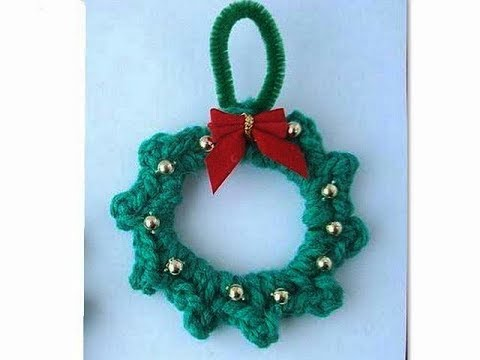 How To Crochet A Mini Wreath Ornament Youtube