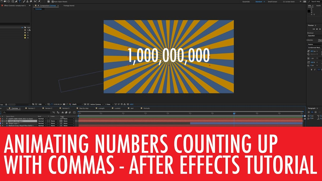 Animated Number Count Withmas In After Effects