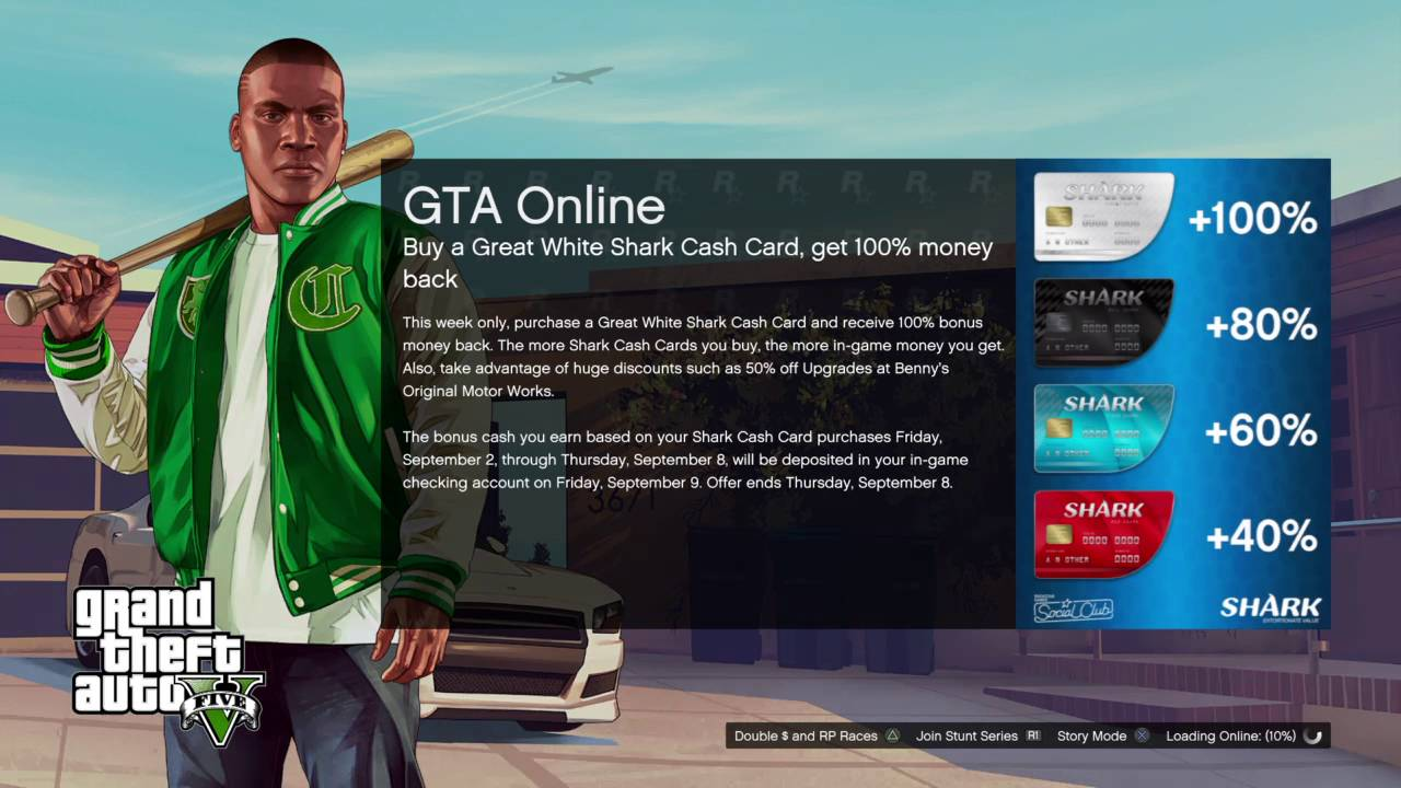 GTA 5 ONLINE BUYING A GREAT WHITE SHARK CARD WILL GET YOU 100% BACK OFFER  2ND SEPT TILL 8TH SEPT