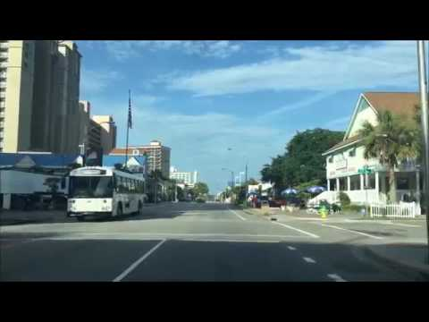 Driving Downtown Myrtle Beach South Carolina USA