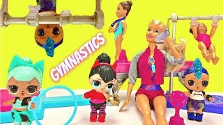 LOL Surprise Dolls Spice Competes with Barbie Gymnastics Playset