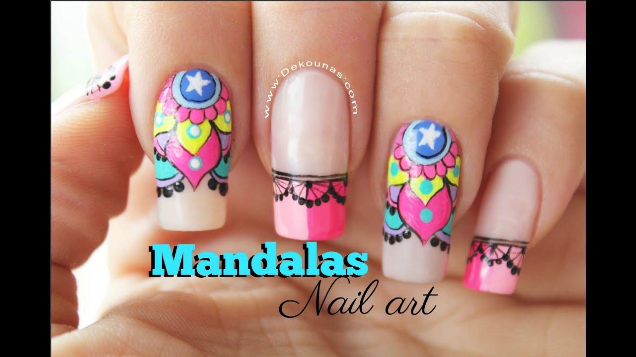 Diseño De Uñas Mandalas Mandalas Nail Art Tutorial Youtube