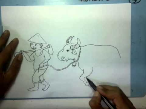 Menggambar Petani Dan Kerbau Youtube