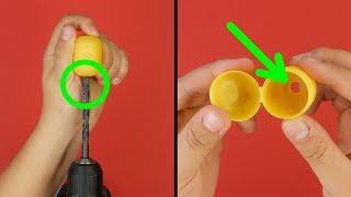 Просверлим отверстие в пластиковом яйце. Универсальный инструмент!
