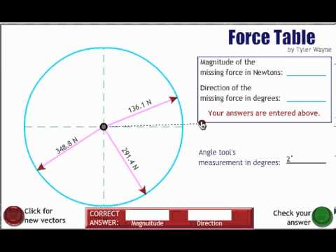 Virtual Force Table Instructions Youtube
