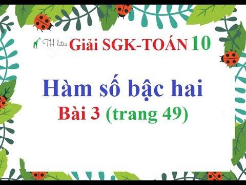 [Giải bài tập SGK-Toán lớp 10] – Hàm số bậc hai | Bài 3 (trang 49) | Thầy Thùy.
